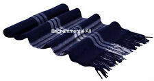 "100% 2-Ply Pure Cashmere Striped Scarf 70""x11"" Men Women Neck Muffler, Navy Blue"