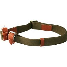 Mosin Nagant Rifle Sling - Heavy Duty - Leather Dog Collar - OD Green Canvas