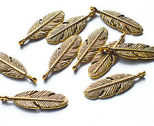 10 x Quality 3cm Antique Gold Plated Bird Feather Charm Pendants Jewellery/Craft