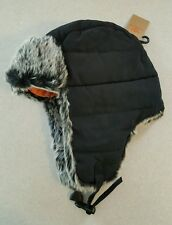 NWT $36 Dockers Men's SMALL / MEDIUM Quilted Trapper Hat BLACK Faux Fur