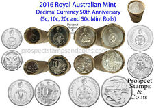 2016 Decimal Currency 50th Anniversary (5c, 10c, 20c, 50c) Australian Mint Rolls