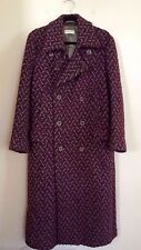 =MAJESTIC= DRIES VAN NOTEN Purple Grey Ethnic Pattern Print Wool Coat Jacket L
