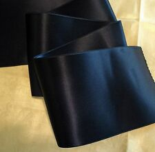 """4"""" WIDE SWISS DOUBLE FACE SATIN RIBBON - NAVY BLUE"""