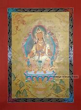 "47"" x 34.25"" Maitreya Buddha Tibetan Buddhist Thangka Scroll Painting From Nepal"