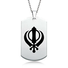Khanda Dog Tag, Stainless Steel with Chain & Necklace/Pendant Box