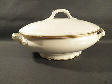 Ancienne soupière ovale en porcelaine liseré doré vintage french antique tureen
