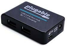 Plugable USB 2.0 4-Port High Speed Charging Hub with 12.5W Power Adapter and ...