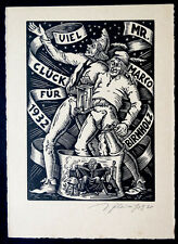VICTOR FLEISSIG Vintage SIGNED Ex Libris ART DECO Etching NEW YEARS 1932  / 12
