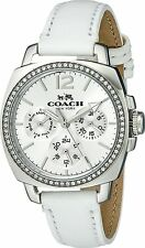 Coach 14502232 Silver Dial White Leather Strap Multifunction Women's Watch