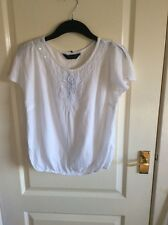 ladies white top with sparle detail at front size 8