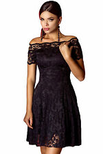 Abito ricamato pizzo gonna top nudo Fascia aperto Falde Lace Skater Dress M