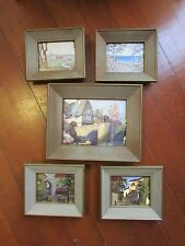 Vintage set 5 Franklin Picture Co Foil Prints lithographs European Framed