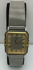 Vintage SEIKO Quartz Alarm 5C20-5050T S. Steel Gold Plated Japan 28mm Watch