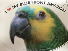 Blue Front Amazon Parrot Exotic Bird Vinyl Decal Bumper Sticker