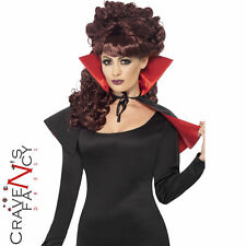 Mini Vamp Black Cape Red lining & Stand Up Collar Halloween Fancy Dress Vampire