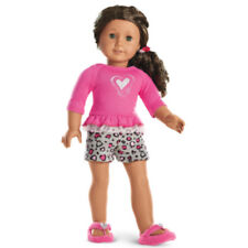 "American Girl MY AG LOVELY LEOPARD PAJAMAS for 18"" Dolls PJ's Slippers NEW"