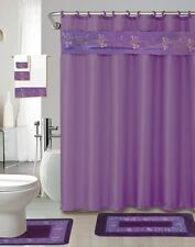 18 piece Bath rug set Beverly Purple Flower bathroom shower curtain/rings towels
