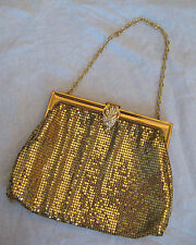 BEAUTIFUL VINTAGE WHITING DAVIS GOLD MESH RHINESTONE CLASP EVENING HANDBAG PURSE
