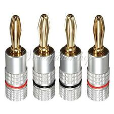 4 pcs 4mm 24k Gold Plated Musical Speaker Cable Wire Banana Plug Connector B1