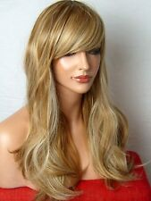 Wig Wavy Full Women natural Brown Blonde Highlight Lady Ladies Wig C23