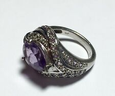 PEAR SHAPE PURPLE CENTER STONE 925 STERLING SILVER LARGE LADIES RING SIZE 7