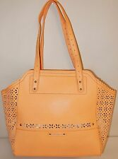 New B Makowsky Tessa Perforated Saffiano Leather Tote in Bellini (Peachy Orange)