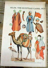 1929 newspaper magazine w COLOR Arab paper doll of SELIM, the EGYPTIAN CAMEL BOY