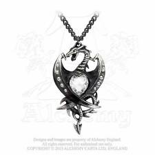 New Alchemy Gothic Crystal 'Diamond' Heart Dragon Pendant Necklace Pewter P609