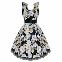 Hearts & Roses London Black Beige Grey Floral Retro 50s Swing Party Tea Dress