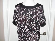 New Chico's Travelers Tossed Dots Top Blouse 3/4 Sleeve Size 2  (12-14) Black