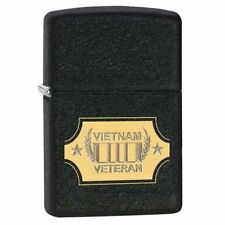 Zippo 28875, Vietnam Veteran, Black Crackle Finish Lighter, Full Size