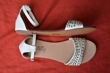 I Lov Billy White Jewelled LEATHER Sandals Womens' Size 6.5-38/EUR JENNO Design