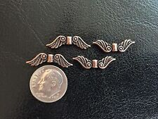 25 Ant. Copper Tone Metal 8X23mm Ornate Southwest Style Angel Wings Spacer Beads