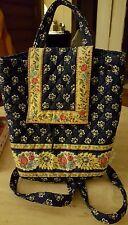 Vera Bradley Maison Blue Multi-color Backpack Bag Shoulder Bag Drawstring