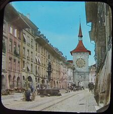 Glass Magic Lantern Slide BERN CLOCK TOWER C1890 PHOTO SWITZERLAND BERNE