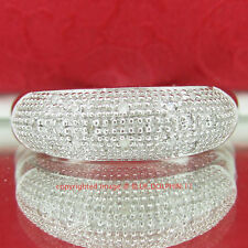Genuine Real Diamond Solid Silver Engagement Wedding Ring Band White Gold Finish