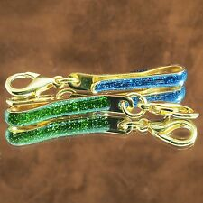 2 x Thai AMULET Pocket/Tie CLIP Metal Coated Gold Micron Colored Display Chain