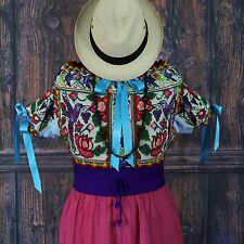 Humming Birds Hand Embroidered Juquila Blouse Oaxaca Traditional Romantic Fiesta