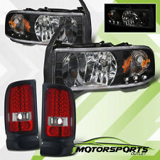 1994-2001 Dodge Ram 1500 2500 3500 Black LED Headlights w/ LED Tail Lights Set