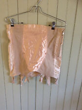 Vintage 7591 pink Lily of France open bottom girdle w/ 6 garters & zipper sz 32