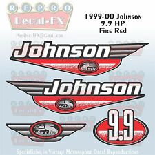 1999-00 Johnson 9.9 HP Fire Red Outboard Reproduction 4Pc Marine Vinyl Decals