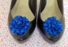 PAIR ROYAL BLUE SATIN RIBBON ROSETTE RUFFLE FLOWER SHOE CLIPS 50s VINTAGE STYLE