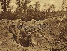 British Army Troops in Trench With Lewis Gun World War 1 5x4 Inch Photo Repro gw