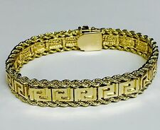 """14k Solid Yellow Gold 2 Row Rope Chain/Greek Key Link Bracelet 7.5"""" 13MM 40 grms"""