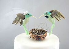Green Hummingbird Wedding Cake Topper: Unique, Rustic Bride & Groom Love Birds
