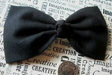 "HANDMADE 4"" PLAIN BLACK COTTON BOW HAIR CLIP 50's CUTE VINTAGE PIN UP STYLE"