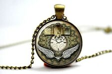 Glass Dome Cabochon Pendant Necklace Charm GOTHIC/ STEAMPUNK Scarab Watch Clock