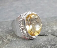 925 Silver Cut CITRINE Ring Sz P-7.5 R319~Silverwave*uk Jewellery