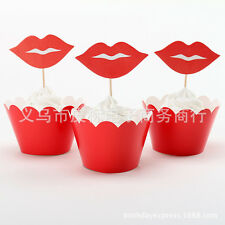 12set birthday Party Baking Supplies Red lips Cakes decoration inserted card Tag