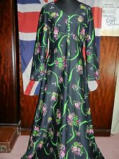 "VINTAGE MAXI DRESS TO FIT 38"" BUST 1970s RETRO PARTY BLACK EMPIRE LINE"